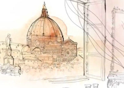 Donna e palazzo italiano. Water color animation